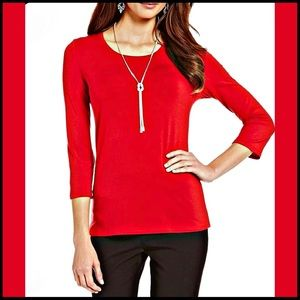 NEW INVESTMENTS ESSENTIALS RED 3/4 SLEEVE T-SHIRT